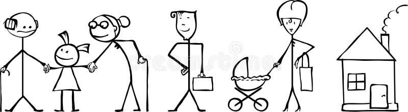 Familjen fodrar royaltyfria bilder