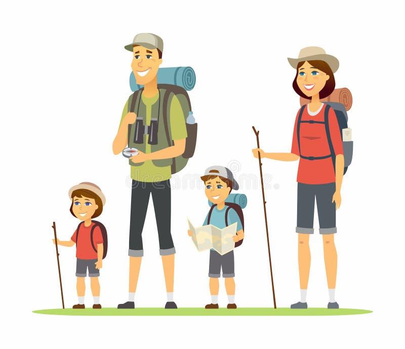 Familjen går att campa - illustrationen för tecknad filmfolktecken vektor illustrationer