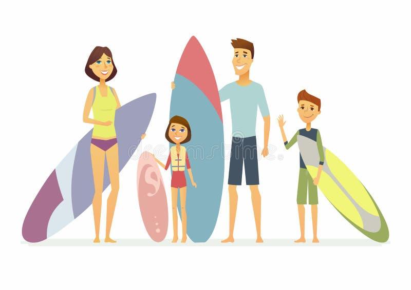 Familjen går att surfa - isolerade illustrationen för tecknad filmfolk den tecken stock illustrationer