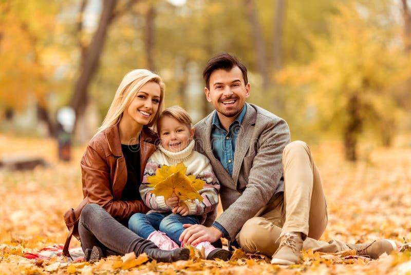 Familjen går höst royaltyfria bilder