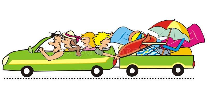 Familjen går på ferie vektor illustrationer