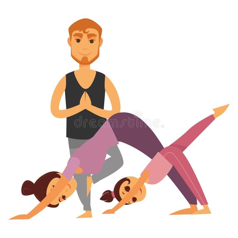 Familjen gör illustrationen för tecknade filmen för yogaövningar den tillsammans isolerade royaltyfri illustrationer