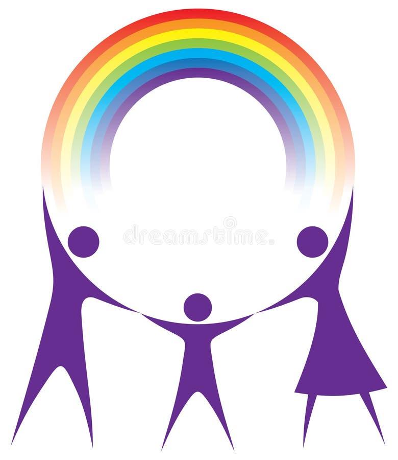 familjen hands lyckliga den din holdingregnbågen vektor illustrationer