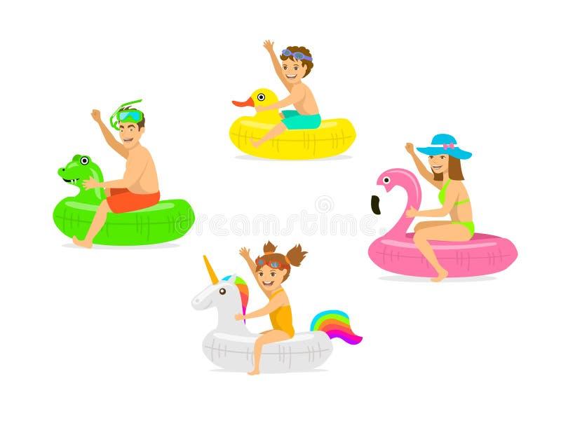 Familjen, mankvinnan, föräldrar och barn på simning för semester för sommartid på den uppblåsbara sväva madrassen ringer i former royaltyfri illustrationer