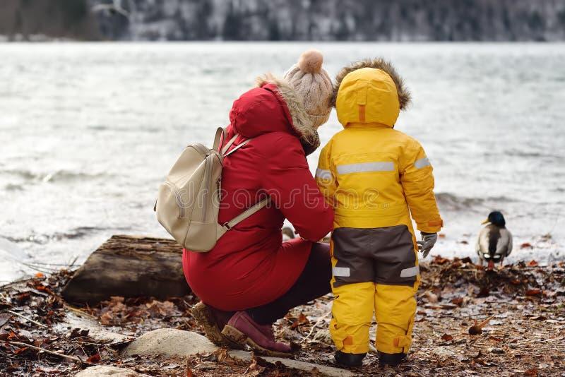 Familjen med den lilla sonen tycker om sikt av sjön Alpsee, Bayern, Tyskland royaltyfri fotografi