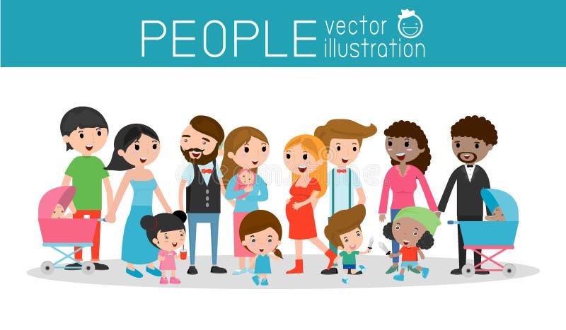 Familjen och barn, familjen och ungar, familjeliv, uppsättningen av den lyckliga familjen, olika nationaliteter och klänningen ut stock illustrationer