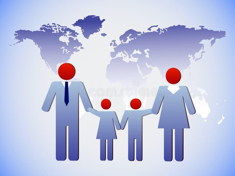 Familjen och världen royaltyfri illustrationer