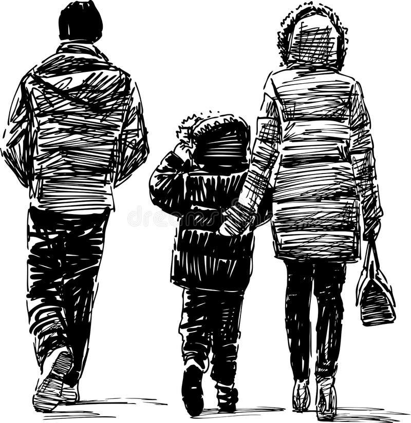 Familjen på går vektor illustrationer
