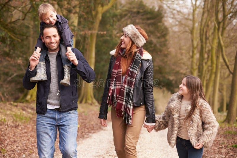 Familjen på vinterbygd går tillsammans fotografering för bildbyråer