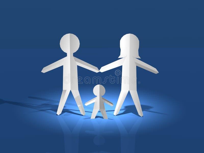 Familjen på vit stiger ombord vektor illustrationer