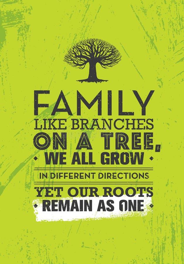 Familjen som filialer på ett träd, alla växer vi i olika riktningar, ändå vårt rotar återstår som en Motivationcitationstecken vektor illustrationer