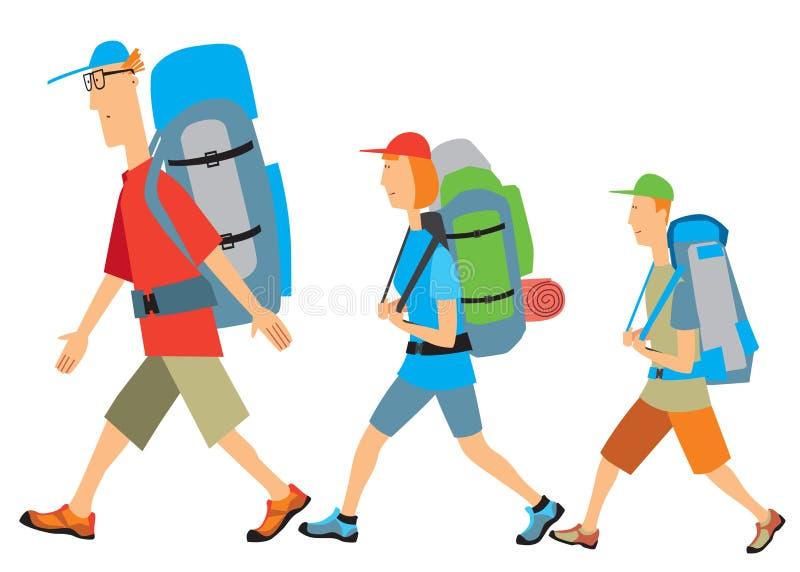 Familjen som fotvandrar farsan, mamman, son går med ryggsäckar isolate vektor illustrationer
