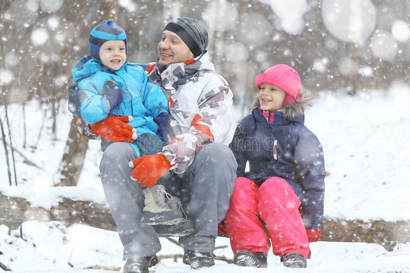 Familjen som går i snöig, parkerar arkivbilder