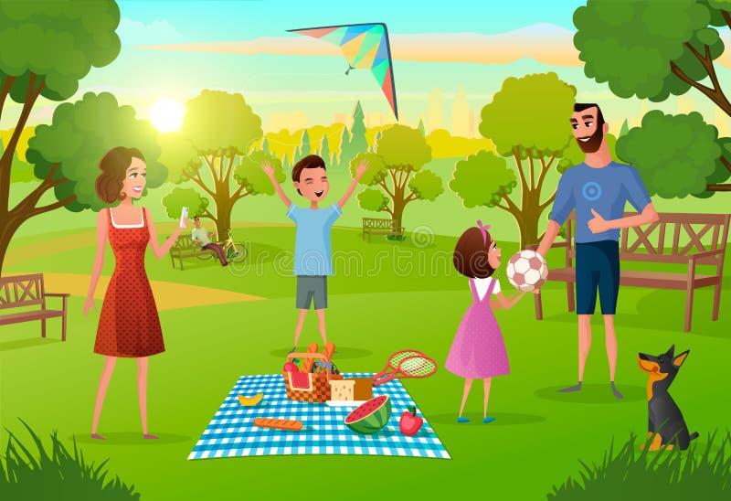Familjen som har gyckel på picknick i stad, parkerar vektorn royaltyfri illustrationer