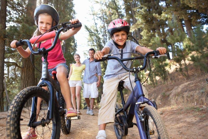 Familjen som tycker om, går i bygden med cyklar royaltyfria foton