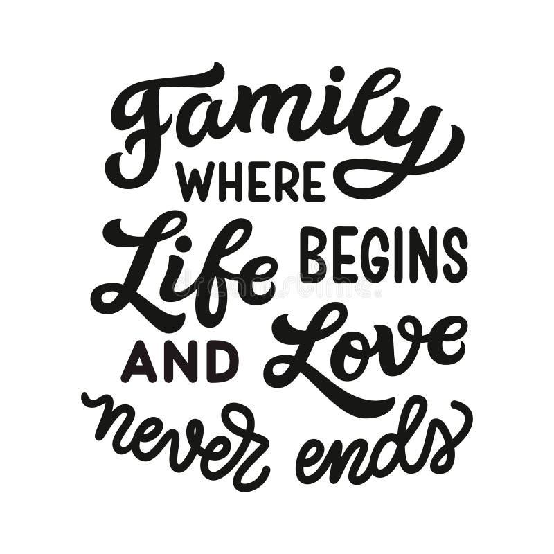 Familjen, var liv börjar, och älskar aldrig slut stock illustrationer