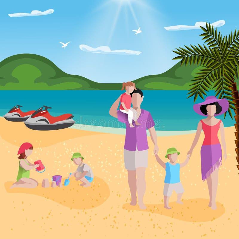 Familjen vilar i lagunsammansättning stock illustrationer
