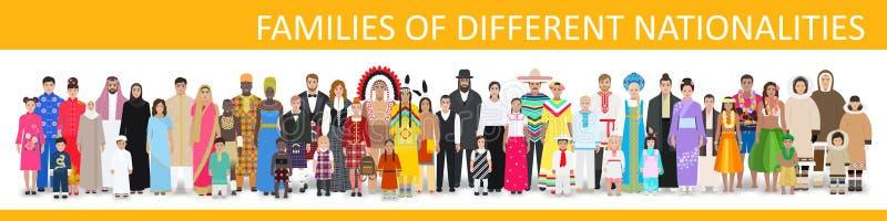 Familjer av olika nationaliteter, vektorillustration royaltyfri illustrationer