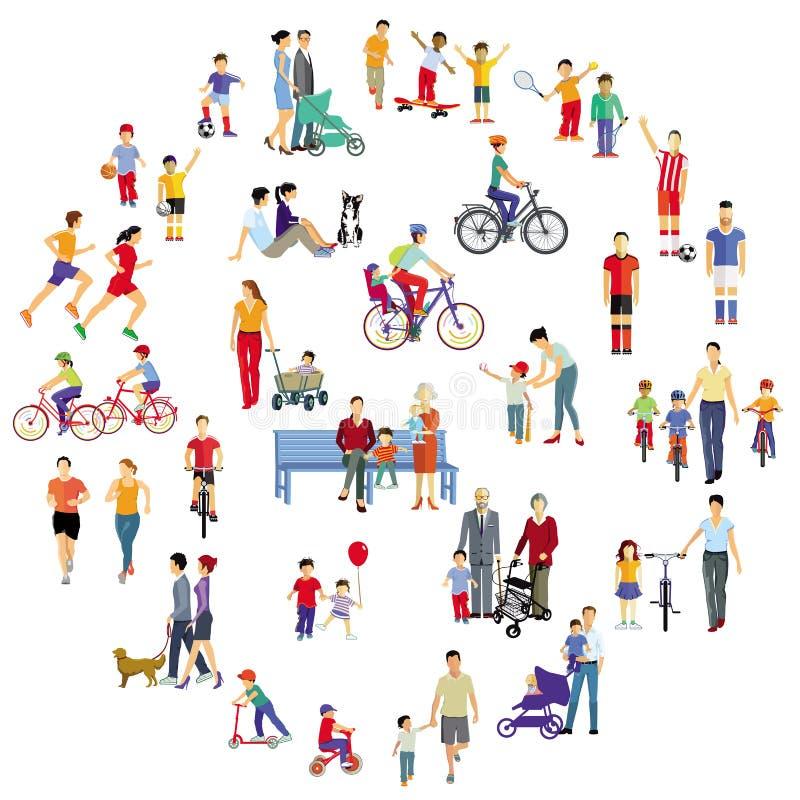 Familjer i fri aktivitet för fritid vektor illustrationer