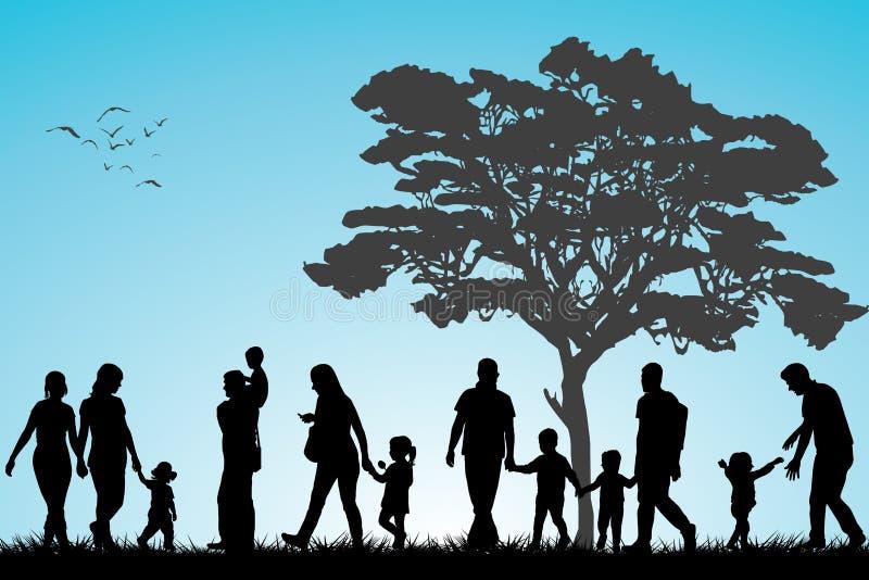 Familjer i parkera vektor illustrationer
