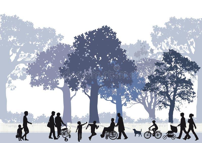 Familjer i stad parkerar stock illustrationer