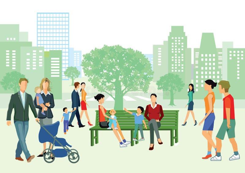 Familjer i stads- parkerar stock illustrationer