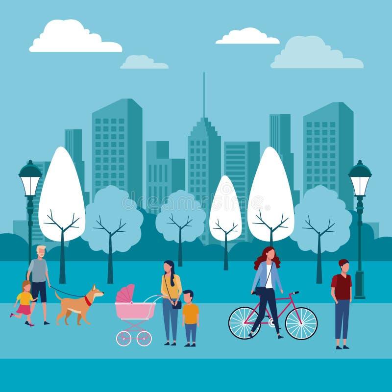 Familjer på parkerar stock illustrationer