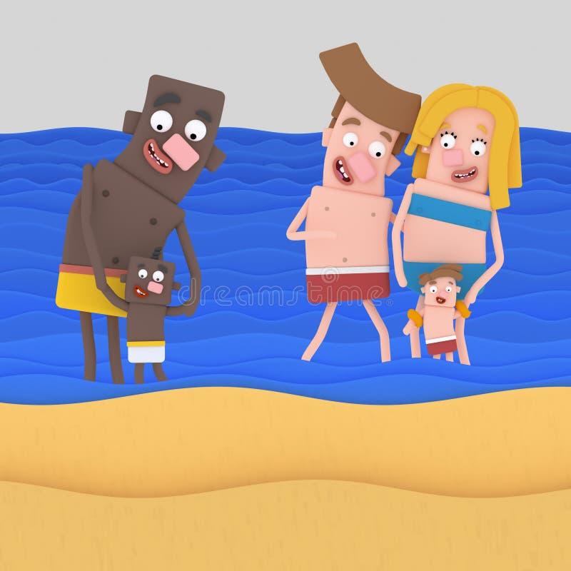 Familjer på stranden royaltyfri illustrationer