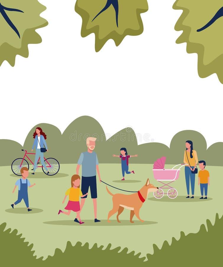 Familjer parkerar in stock illustrationer