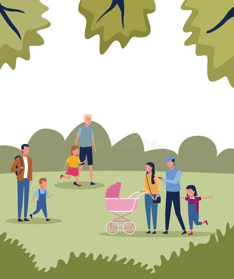 Familjer parkerar in vektor illustrationer
