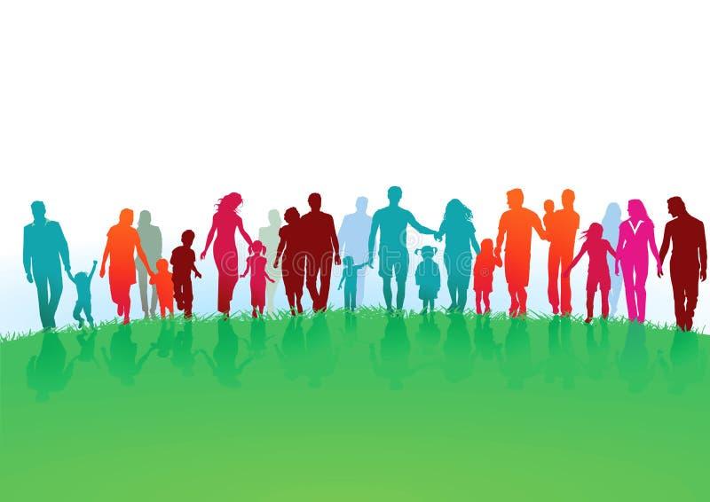 Familjer som går i ett grönt fält vektor illustrationer