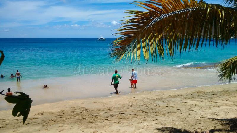 Familjer som tycker om havet på lägre fjärd, bequia royaltyfria bilder