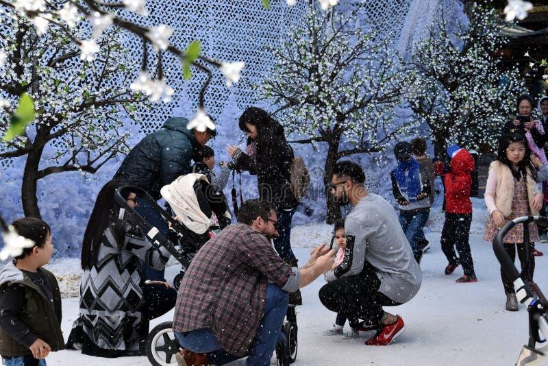 Familjer tycker om snön på vinterfestivalen royaltyfria foton