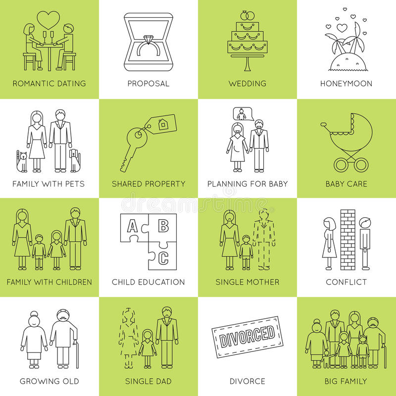 Familjetappuppsättning royaltyfri illustrationer