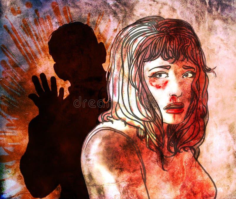 familjevåld vektor illustrationer