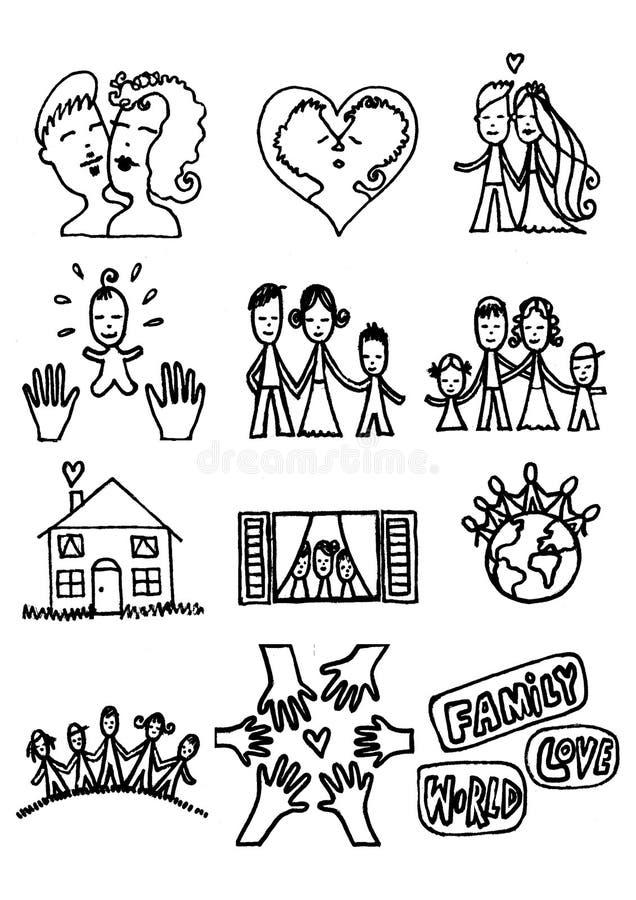 familjförälskelse royaltyfri illustrationer