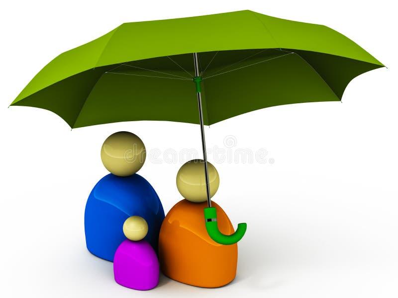 Familjförsäkringsäkerhet stock illustrationer