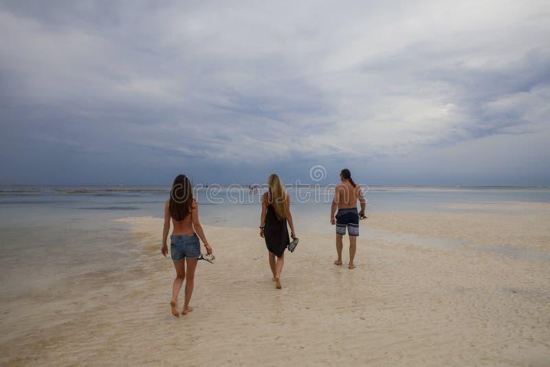 Familjfader med döttrar som går på den härliga Galu - Kinondo stranden i Kenya, kust, på lågvatten arkivbilder