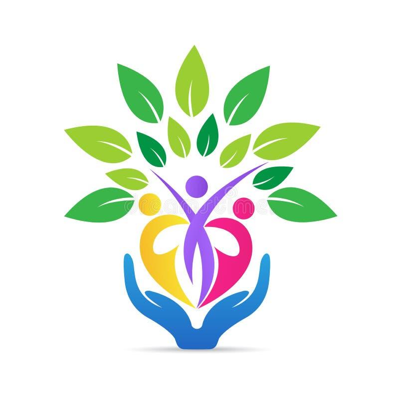 Familjfolket älskar logo för omsorghandträd royaltyfri illustrationer