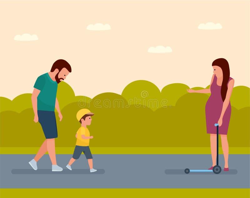 Familjfritid unga vuxen människa Familj på en gå i parkera modern uppmuntrar sonen att rida en sparkcykel royaltyfri illustrationer