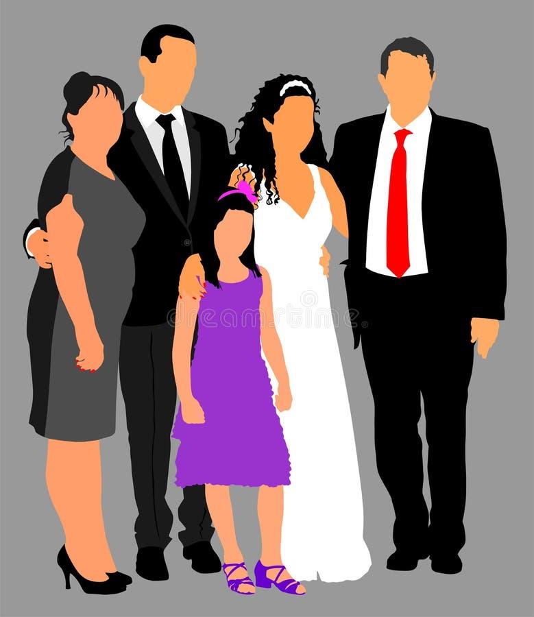 Familjgrupp på att gifta sig vektorillustrationen M?ng- utveckling Gifta sig par med föräldrar och liten arbetsuppgift bara gift vektor illustrationer