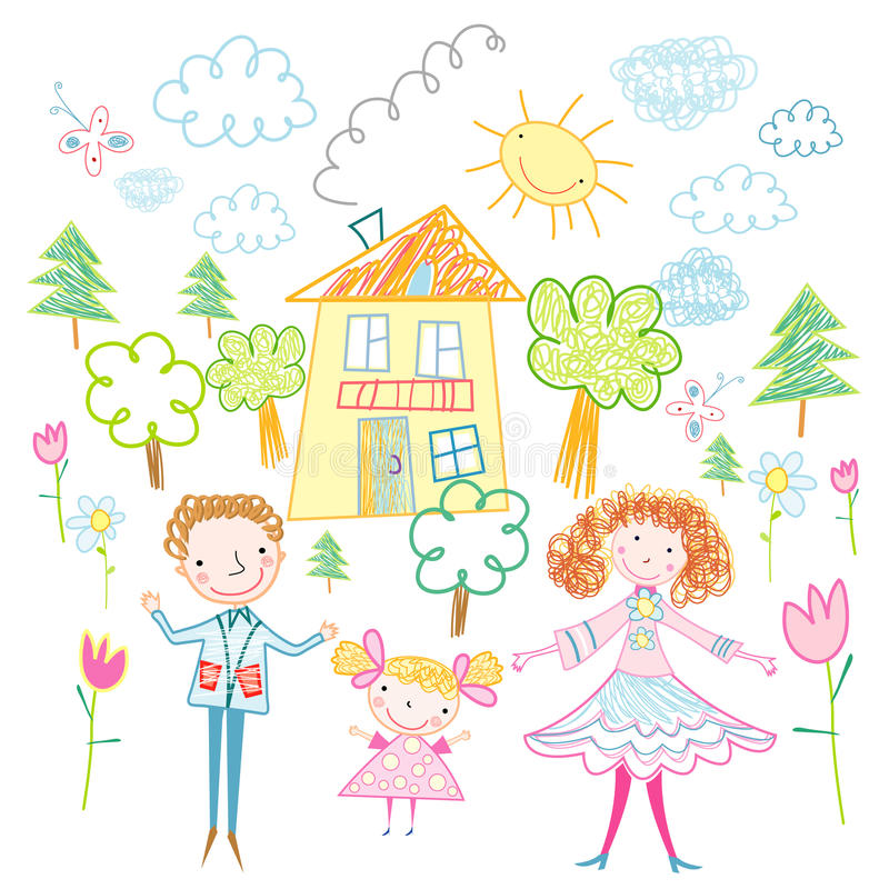 familjgyckel royaltyfri illustrationer
