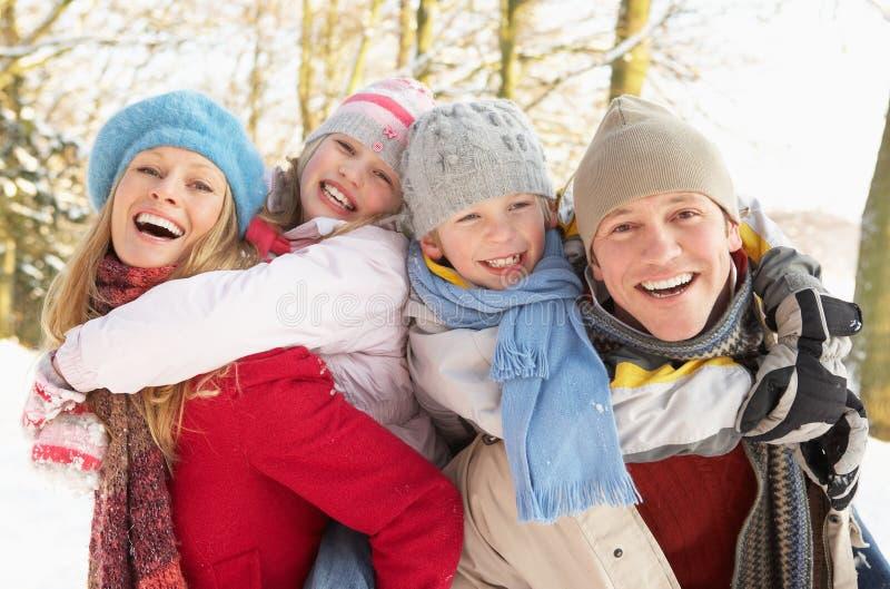 familjgyckel som har snöig skogsmark royaltyfria bilder