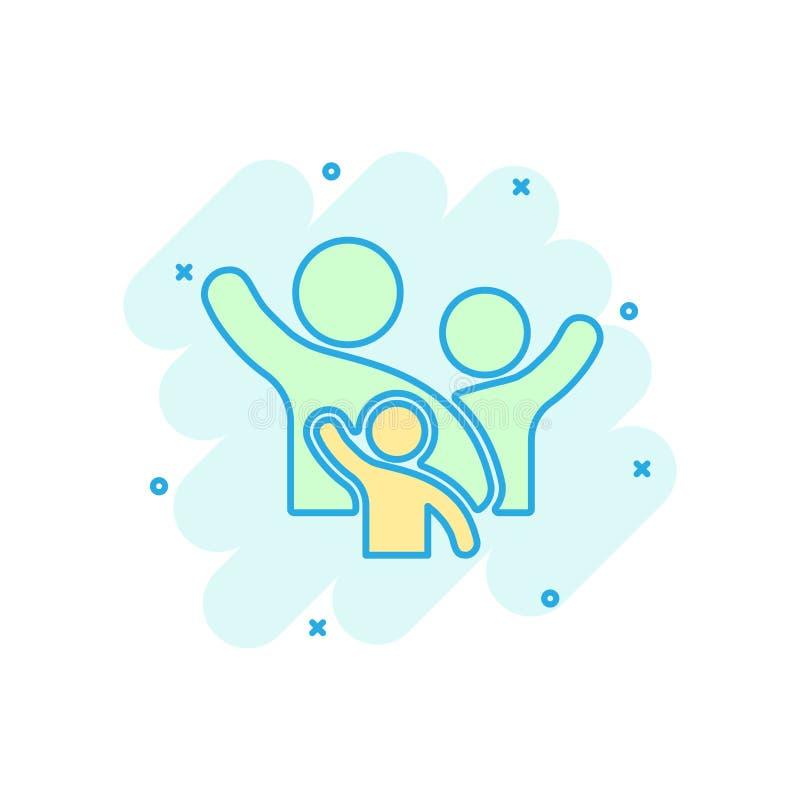 Familjhälsning med handen upp symbol i komisk stil Pictogram för illustration för tecknad film för persongestvektor Folkledareaff stock illustrationer