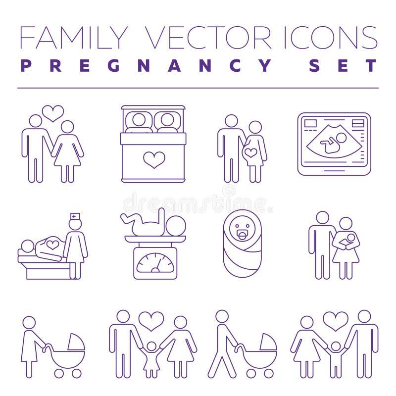 Familjhälsovård och tunn linje vektorsymboler för havandeskapmedicin vektor illustrationer