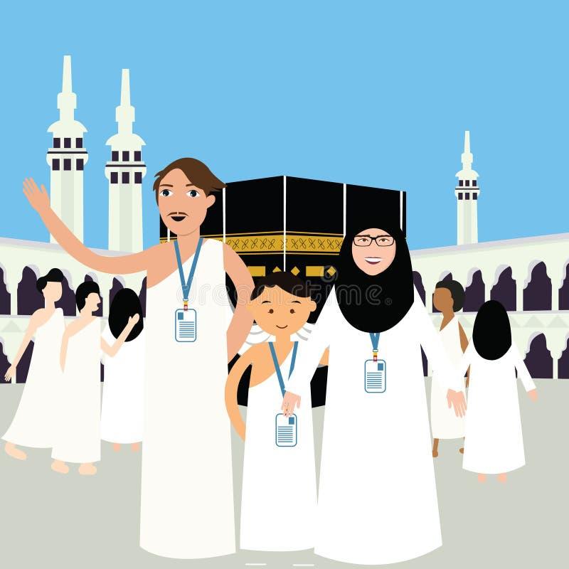 Familjhajhajjen vallfärdar ungar för kvinnan för manfadermodern som bär kaba för kabba för ka'ba för Mecka för illustration för v stock illustrationer