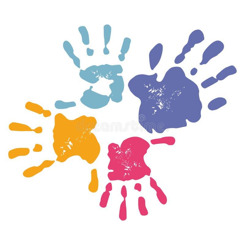 Familjhandprints stock illustrationer