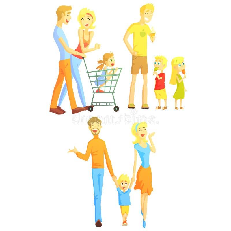 Familjhelgillustration royaltyfri illustrationer