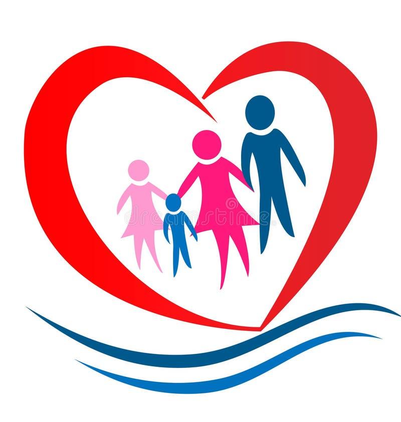 familjhjärtalogo vektor illustrationer