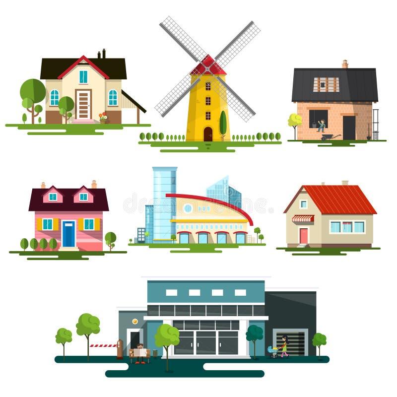 _ Familjhus, väderkvarn och modern byggnad som isoleras på vit bakgrund stock illustrationer